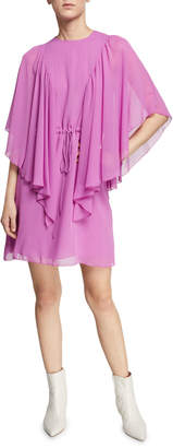 See by Chloe Ruffled Tie-Waist Cape-Sleeve Short Dress