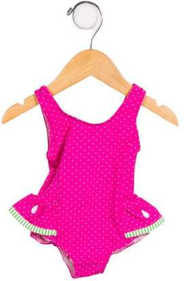 Florence Eiseman Girls' Ruffle-Trimmed Polka Dot Swimsuit w/ Tags