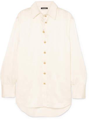 Balmain Oversized Crinkled Silk-satin Shirt - White