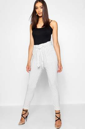 boohoo Stripe Paper Bag Waist Belted Trouser