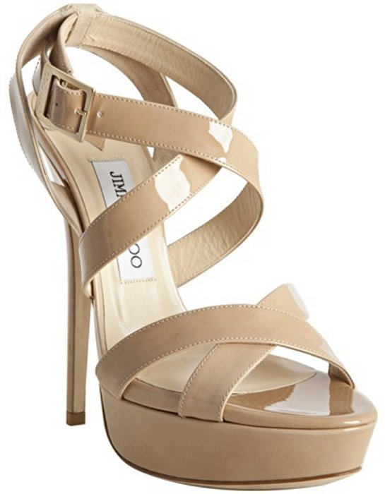 Jimmy Choo nude patent leather 'Louisa' crisscross platform sandals