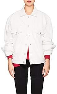 Balenciaga Women's Logo Cotton Denim Jacket - White