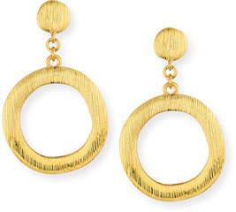NEST Jewelry Brushed Golden Hoop Drop Earrings