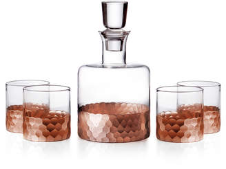 Jay Import Co Daphne 5-Piece Square Whiskey Decanter Set, Copper
