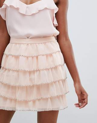 Asos Design DESIGN mini skirt with embellished tiers