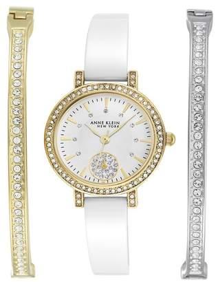 Anne Klein Women's Swarovski Crystal Embellished Quartz Watch, 28mm - 3-Piece Box Set