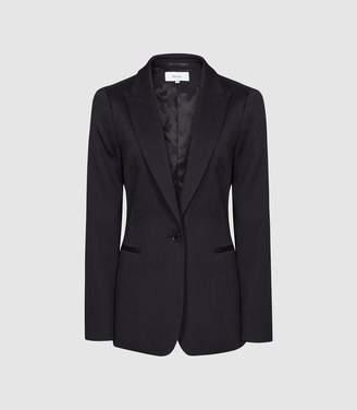 Reiss Neya Jacket - Textured Tailored Blazer in Navy