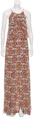 L'Agence Printed Maxi Dress Tan Printed Maxi Dress