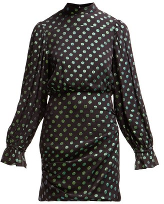 Saloni Rina Polka Dot Silk Dress - Womens - Black Green