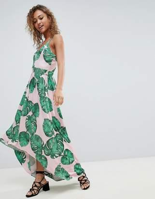 Lasula Palm Print Maxi Dress