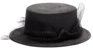 Sensi Studio - Kate Tulle Trimmed Straw Hat - Womens - Black