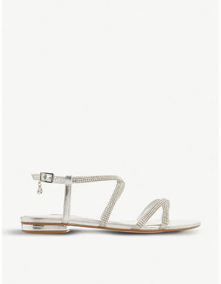 b3ec0003692e23 Dune Neve cross-strap embellished metallic-leather sandals
