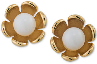 Trina Turk Gold-Tone Colored Stone Flower Stud Earrings