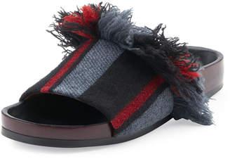 Chloé Kerenn Patterned Flat Slide Sandals, Black/Charcoal