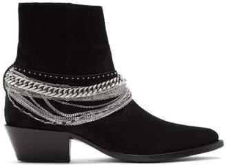Amiri Black Suede Western Chain Boots