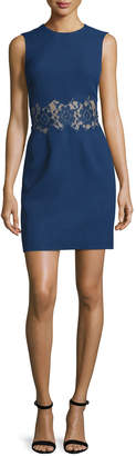 Christopher Kane Sleeveless Crepe Sheath Dress w/Lace Inset, Navy