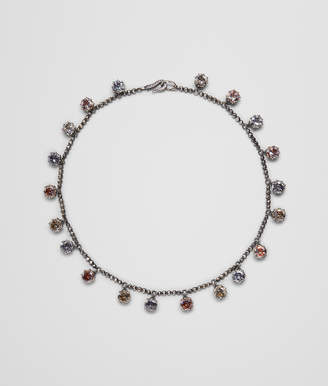 Bottega Veneta MULTICOLOR CUBIC ZIRCONIA OXIDIZED SILVER NECKLACE