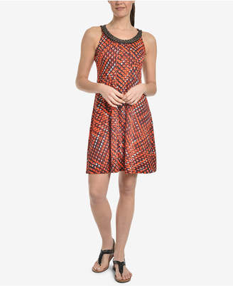 NY Collection Beaded Printed Dress