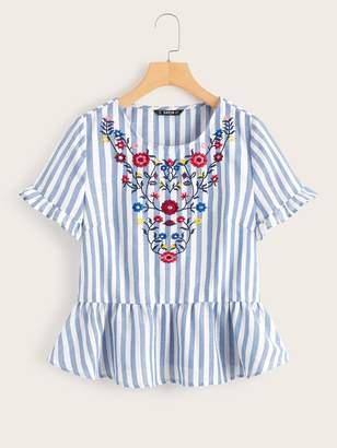 Shein Ruffle Cuff Striped Embroidery Peplum Top