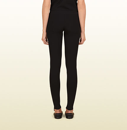 Gucci Women's Black Felted Jersey Legging From Viaggio Collection
