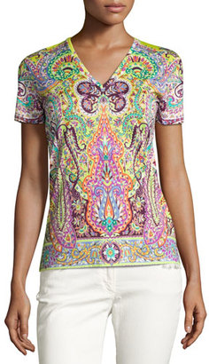 Etro Paisley V-Neck T-Shirt, Lime $395 thestylecure.com