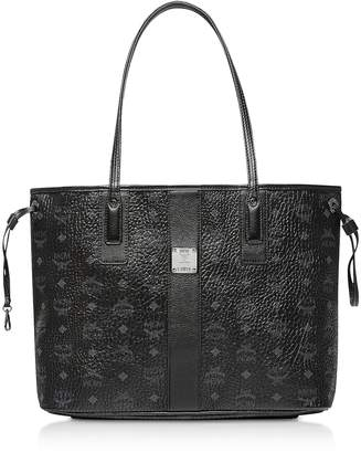 MCM Black Shopper Project Visetos Medium Reversible Tote Bag