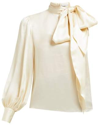 Erdem Venetia One Sleeve Pussybow Satin Blouse - Womens - Ivory