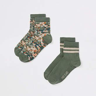 River Island Boys green camo print socks pack