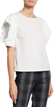 Rachel Roy Britnie Crewneck Ruffle-Sleeve Tee