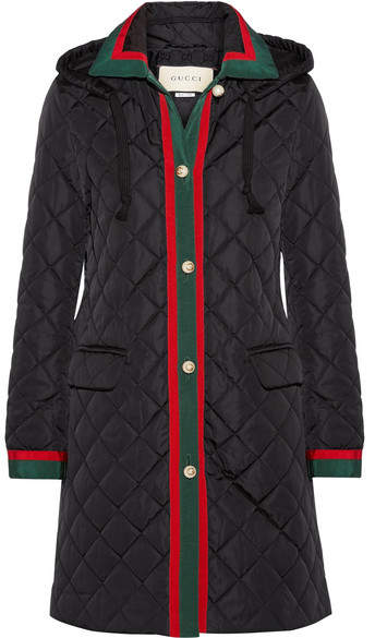 Gucci - Hooded Grosgrain-trimmed Quilted Shell Coat - Black
