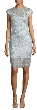 Tadashi Shoji Cap Sleeve Lace Dress $410 thestylecure.com