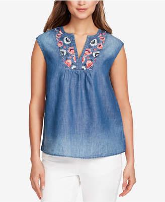 Vintage America Diana Embroidered Split-Neck Top