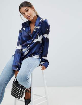 Missguided Bird Print Satin Pajama Blouse