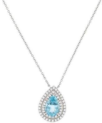 Tiffany & Co. Platinum Aquamarine & Diamond Soleste Pendant Necklace