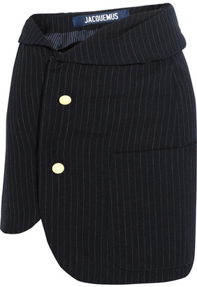 Jacquemus - Pinstriped Wool Mini Skirt - Navy $545 thestylecure.com