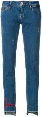 Philipp Plein embellished step hem jeans