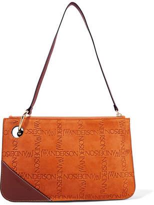 J.W.Anderson Pierce Leather-trimmed Embossed Suede Shoulder Bag - Orange