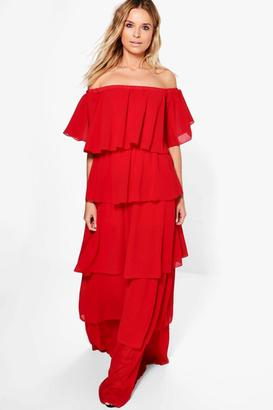 boohoo Amiee Off Shoulder Ruffle Maxi Dress $52 thestylecure.com