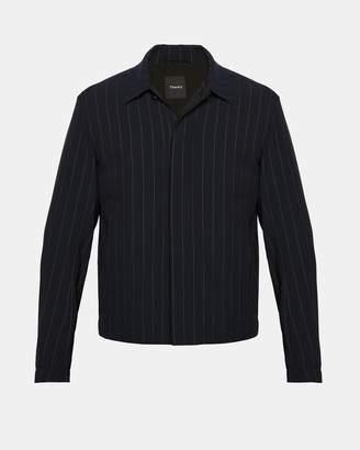 Theory Wool Blend Dashed Pinstripe Blouson Jacket