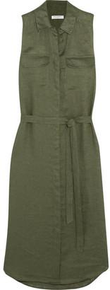 Equipment - Tegan Linen Shirt Dress - Army green $225 thestylecure.com
