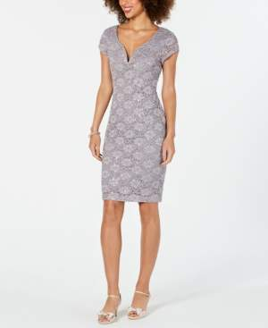 Connected Sequined Lace Sweetheart Sheath Dress
