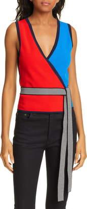Diane von Furstenberg Kandy Colorblock Wrap Top