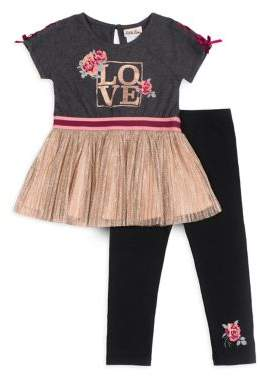 Little Lass Little Girl's Peplum Top and Leggings Set