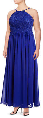 Decode 1.8 Plus Lace Bodice Chiffon Evening Gown