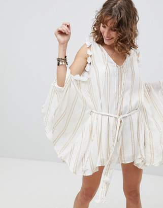 Sundress Cold Shoulder Tassle Dress