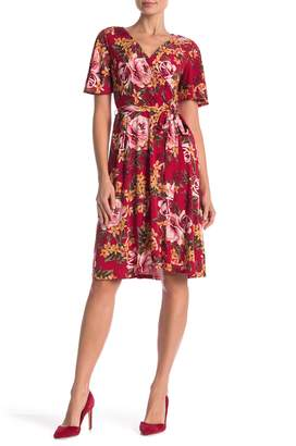 Donna Morgan Floral Printed Wrap Dress