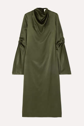 Dion Lee Cold-shoulder Draped Mulberry Silk-satin Midi Dress - Green