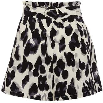 Quiz Cream Black And Grey Leopard Print Shorts