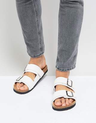 Brave Soul Double Strap Sandals In White