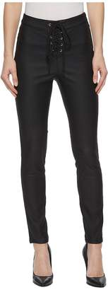 Romeo & Juliet Couture Faux Leather Leggings w/ Front Grommet Detail Women's Casual Pants